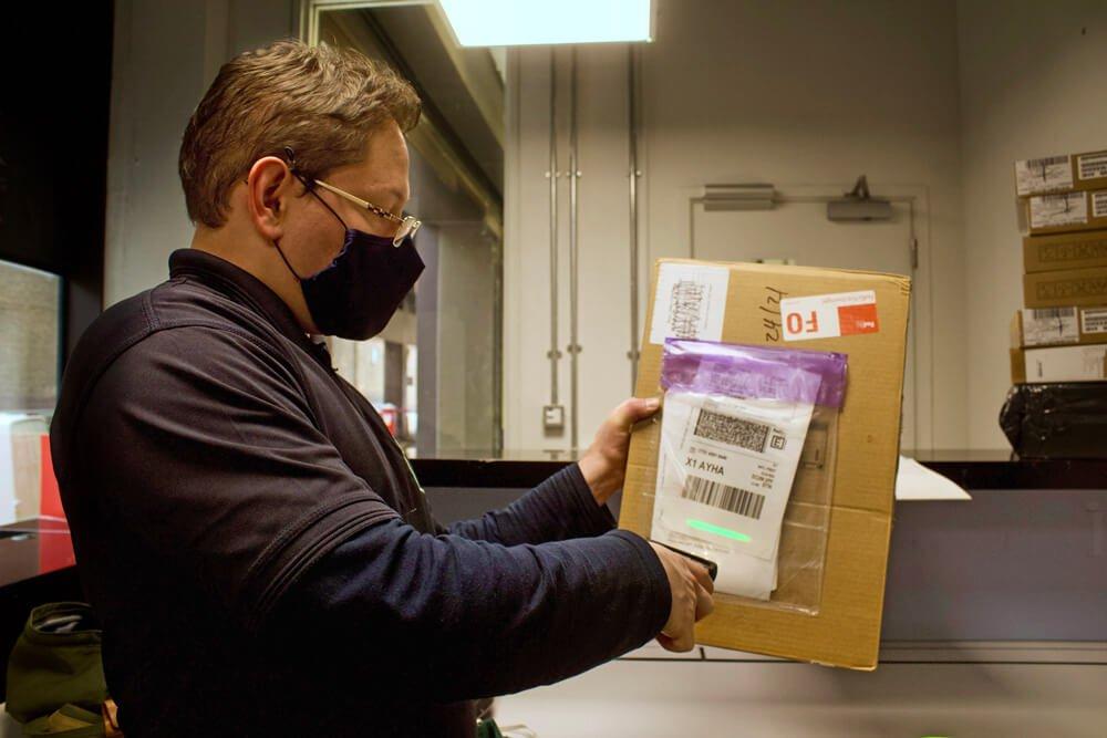 Internal mail tracking barcode